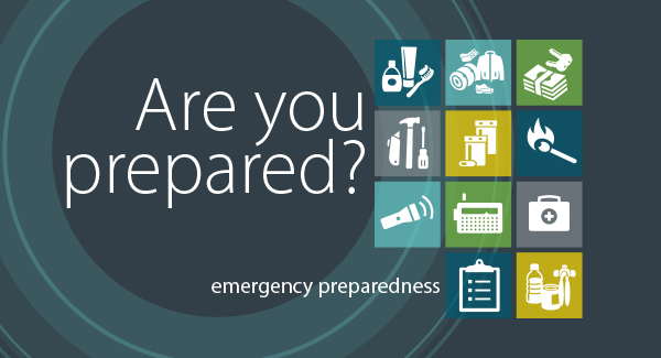 Emergency preparedness banner, asking if you are prepared.