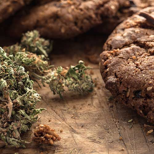 image of cannabis and baked cookies