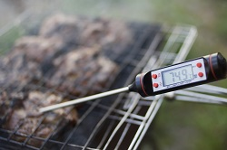 Digital meat thermometer with 74.9 reading
