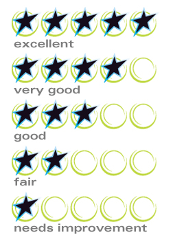 Safe Food Counts ratings are shown through stars displayed in a row of five circles. When a rating is 'excellent', all five circles contain a star. For 'very good', the first four circles contain a star. For 'good', the first three circles contain a star. For 'fair', the first two circles contain a star. For a rating of 'needs improvement', only the first circle contains a star.