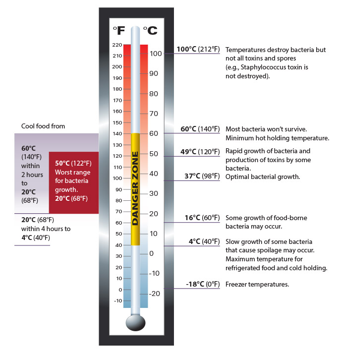 Image of thermometer, indicating critical food temperatures