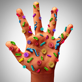 Image of illustrated hand covered in germs