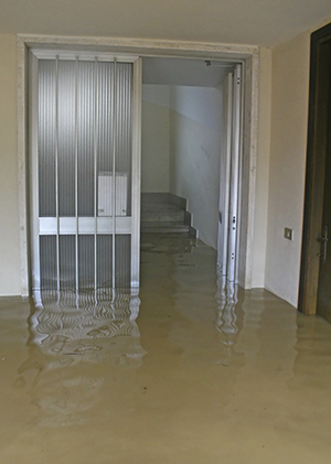 A picture of a flooded basement