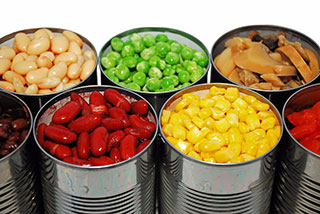 Photo of a variety of canned vegetables