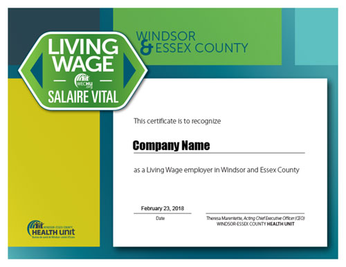 Living Wage Certificate example