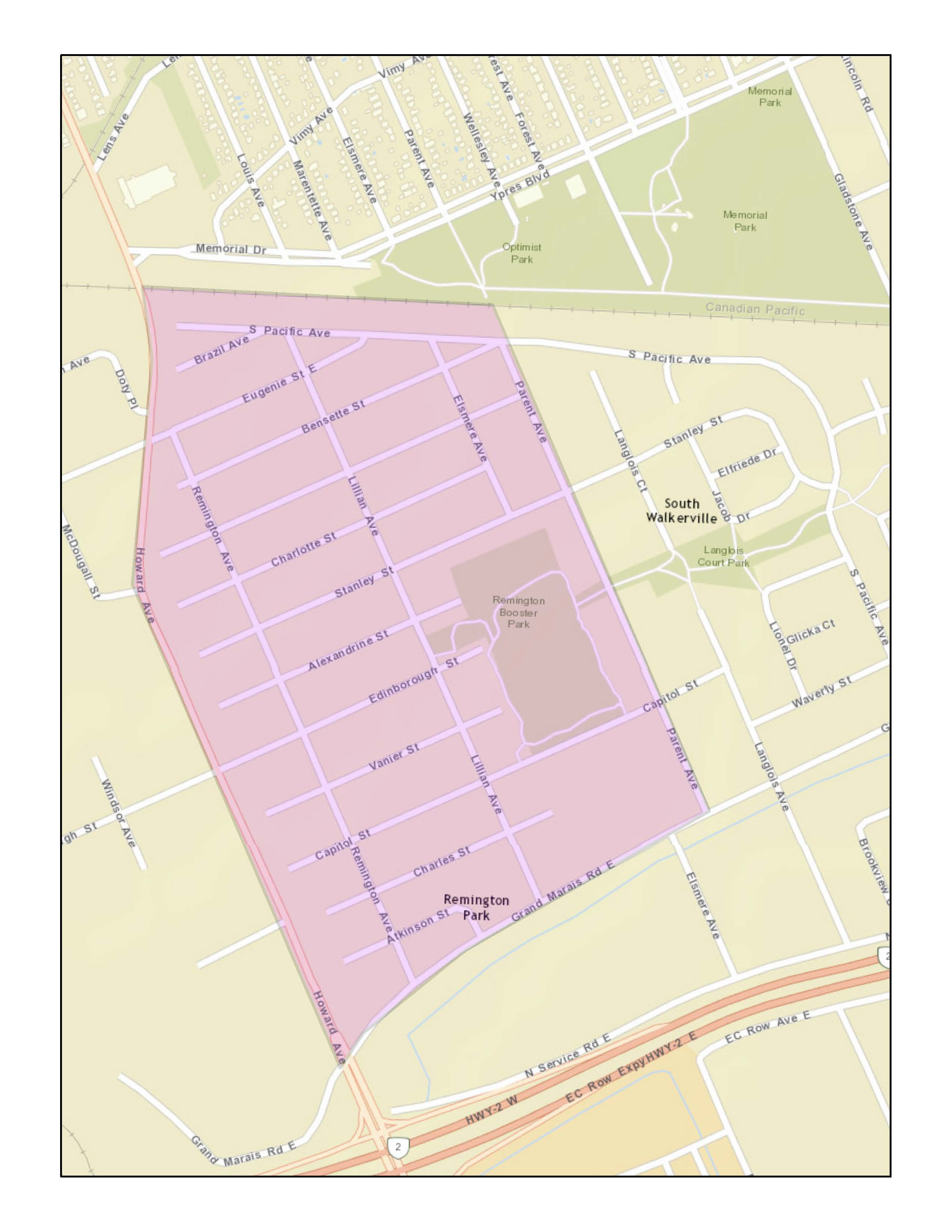 Remington Park Study Area: Within the boundaries of Parent Ave., Grand Marais Rd E., Howard Ave., and S Pacific Ave.