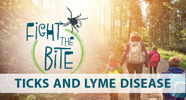 Fight the bite banner for ticks and lyme disease awareness and prevention