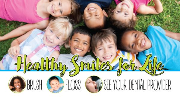 Banner photo of children smiling for healthy smiles