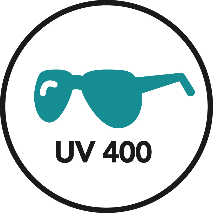 Graphic of sunglasses with text reading UV 400