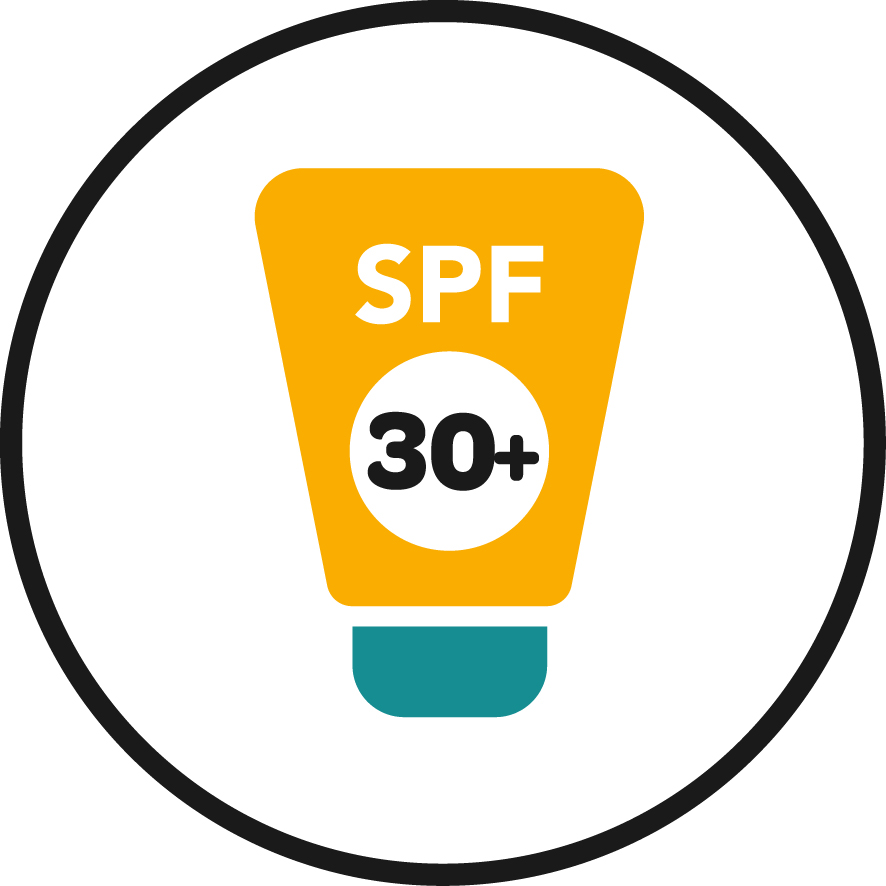 Graphic of tube of 30+ SPF sunscreen
