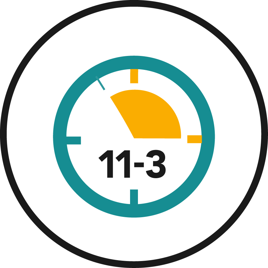 Graphic of clock highlighting time between 11am and 3pm