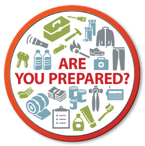 Graphic with various emergency preparedness items such as water, flashlight etc.