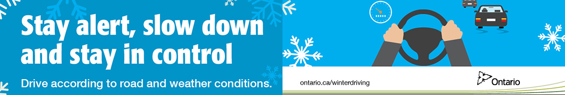 Stay alert, slow down and stay in control - winter driving safey banner